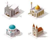 Lieux de culte isométriques de vecteur illustration stock