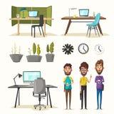 Lieux de travail modernes Caractères créatifs Travail de bureau Illustration de vecteur de dessin animé illustration libre de droits