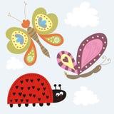 Lieveheersbeestje & vlinder Stock Fotografie