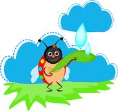 Lieveheersbeestje die regen vangen stock illustratie