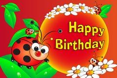 Lieveheersbeestje en bloemen - de kaart van de Verjaardag Royalty-vrije Stock Afbeelding