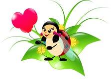 Lieveheersbeestje met ballon stock illustratie