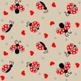 Lieveheersbeestje met harten naadloos patroon - vector vector illustratie