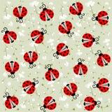 Lieveheersbeestje met harten naadloos patroon - vector Stock Foto's