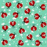 Lieveheersbeestje met harten naadloos patroon - vector Royalty-vrije Stock Foto