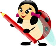 Lieveheersbeestje met potlood stock illustratie