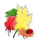 Lieveheersbeestje op de herfstbladeren stock illustratie