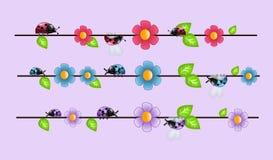Lieveheersbeestjes op draad vector illustratie