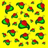 Lieveheersbeestjes op groene bladeren op gele achtergrond Royalty-vrije Stock Fotografie