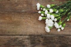 Liez le fond en bois rustique d'isolement par composition blanche de disposition de bouquet de fleur d'oeillet images libres de droits