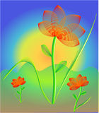 Life. Flowers and sunrise colorful illustration royalty free illustration