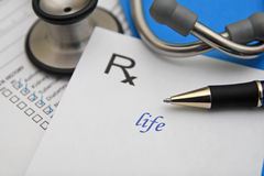 Life. Prescription for life with stethoscope and health chart Stock Image