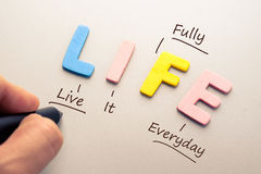 Life Acronym. Wood letters of LIFE word with hand writing acronym stock photo