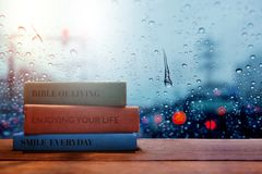 Free Life And Living Positive Concept, Reading Book In Rainy Day Stock Images - 99487244