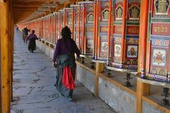 The life around Labrang in Xiahe, Amdo Tibet, China. Pilgrims ar royalty free stock image