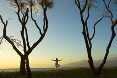 Life in balance. Silhouette of woman practicing yoga at sunset on the Island of Maui in Hawaii Stock Image