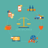 Life balance lifestyle vector flat infografic: weights, icon. Flat life balance lifestyle concept. Scales weights icon and work income finance strategy love Royalty Free Stock Photo