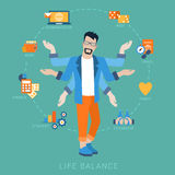 Life balance man lifestyle vector flat infografic: icons. Flat life balance many armed young man abstract shiva lifestyle concept. Male figure with multi hands Stock Photo