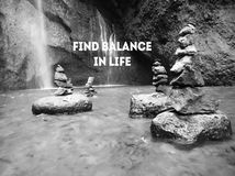 Free Life Balance Quote. Inspirational Words - Find Balance In Life. With Background Of Waterfall & Stones Formations In Black And Royalty Free Stock Photography - 165649277
