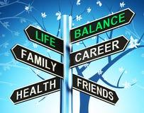 Life Balance Signpost Shows Family Career Health 3d Illustration royalty free illustration