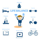 Life balance for well being concept illustration. Well being concept illustration for life balance stock illustration