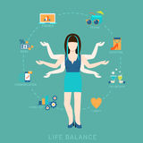 Life balance woman lifestyle vector flat infografic: icons. Flat life balance many armed young woman abstract shiva lifestyle concept. Female figure with multi Royalty Free Stock Photo