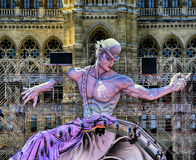 Life Ball view at statue in front of City Hall  in Vienna, Austr Stock Images