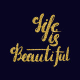 Life is beautiful - romantic quote for valentines day card or sa. Ve the date card. Inspirational  typography. Hand painted brush pen modern calligraphy with Royalty Free Stock Photos