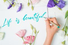 Life is beautiful text. Font of lettering word on white paper with green ink by calligrapher. Flowers frame. Graphic royalty free stock photography
