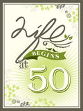 Life begins at 50 anniversary background. Life begins at 50 anniversary greeting card background Royalty Free Stock Photography