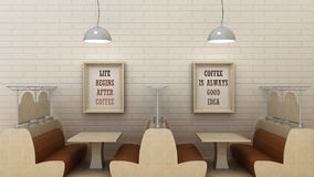 Life begins after coffee, coffee is always good idea posters in modern cafe interior. 3d render Stock Photography
