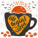Life begins after coffee. Vector illustration with handwritten lettering: Life begins after coffee. Grunge cup, heart, coffee beans, sun and birds Royalty Free Stock Photo