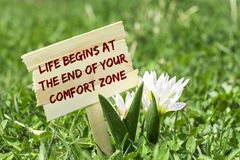 Life begins at the end of your comfort zone. On wooden sign in garden with white spring flower royalty free stock images