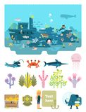 Life below water flat vector illustration collection. Life below water illustrated scene set with various underwater objects Royalty Free Stock Images