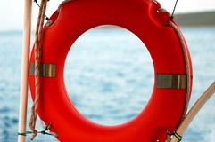 Life belt. On small fishing boat stock photography