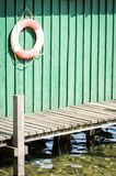 Life belt. At an old jetty stock photo