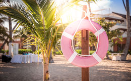 Life belt on the beach. Life belt on caribbean beach in Dominican Republic Royalty Free Stock Image