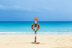 Life belt at the beach in Fuerteventura. Life belt and SOS box at the beach in Fuerteventura Stock Photography