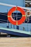 Life belt on boat walk way Royalty Free Stock Photos