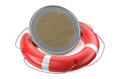 Life belt with euro sign Royalty Free Stock Image