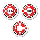 Life belt, help, s.o.s.  icons set Royalty Free Stock Images