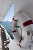 Life belt on a passenger ship stock images