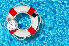Life Belt. Protection Buoy Rescue stop-watch stopwatch Assistance royalty free stock photos