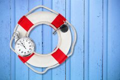 Life Belt. Protection Buoy Rescue stop-watch stopwatch Assistance stock image