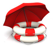 Life Belt and Umbrella Royalty Free Stock Photos