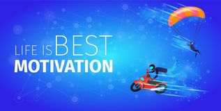 Motobiker and Skydiver on Blue Gradient Background. Life is Best Motivation Banner. Extreme Sport Activity. Biker Man in Suit and Helmet Making Stunt and Jumps stock illustration
