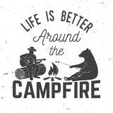 Life is better around the campfire. Vector illustration. Concept for shirt or logo, print, stamp or tee. Vintage typography design with campfire, bear, man vector illustration