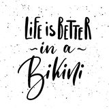 Life is better in a bikini. Ink brush pen hand drawn lettering design. Vector illustration isolated on a ink grunge background, typography for card, banner royalty free illustration