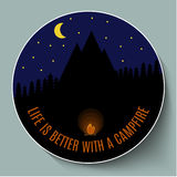 Life is better with a campfire royalty free illustration