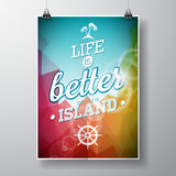 Life is better on the island inspiration quote on abstract color background. Vector typography design element for greeting cards a Royalty Free Stock Photo